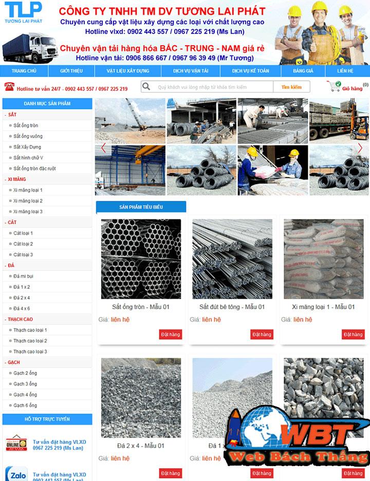 thiết kế website bán vật liệu xây dựng