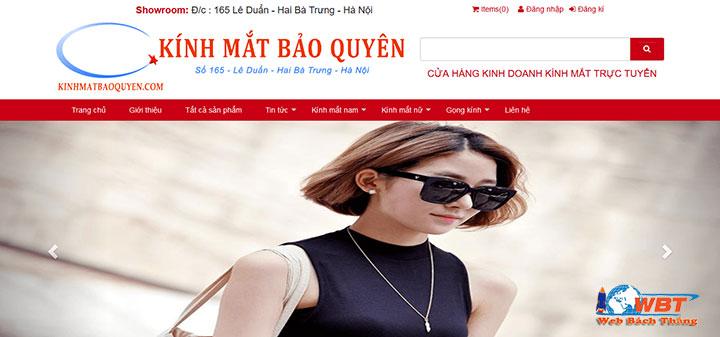 dịch vụ thiết kế website bán mắt kính thời trang chuyên nghiệp