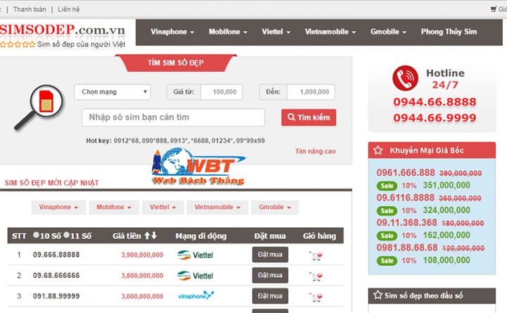 thiết kế website bán sim chuyên nghiệp đẳng cấp