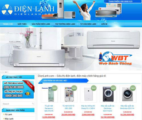 thiết kế website điện lạnh - điện tử chuyên nghiệp uy tín