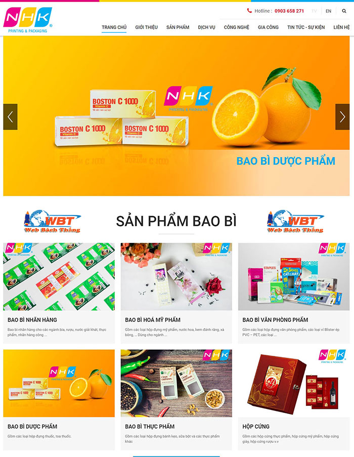 mẫu website in ấn bao bì đẹp tại web bách thắng
